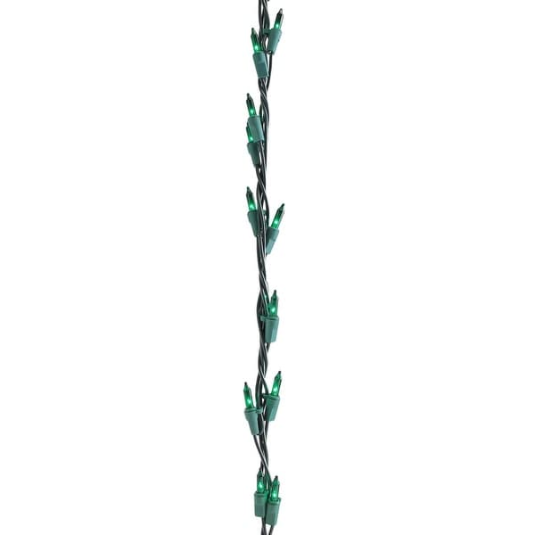 9' Christmas Light Garland with 100 Green Mini Lights - Green Wire