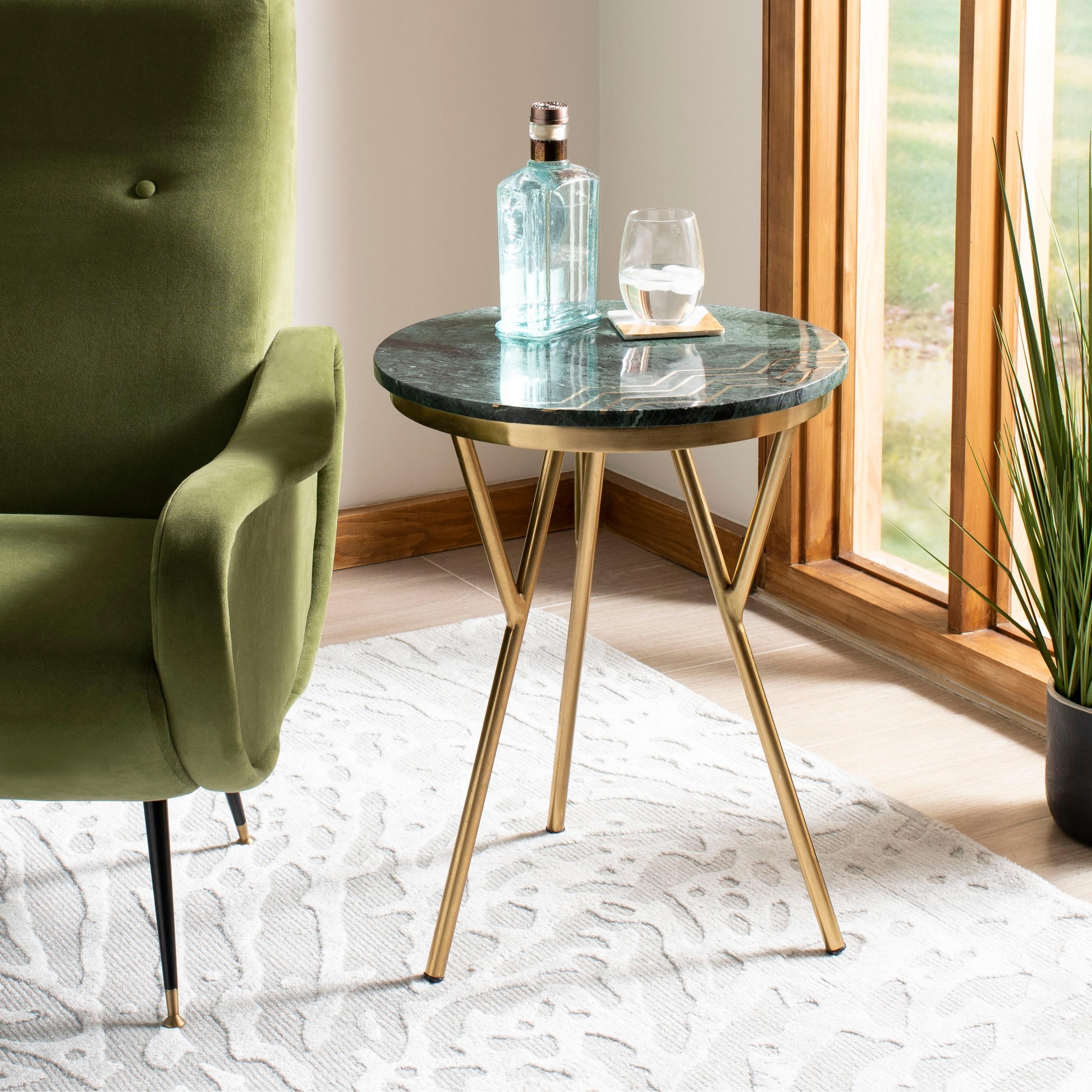 - Shop Safavieh Coletta Marble Accent Table - Dark Green - 18