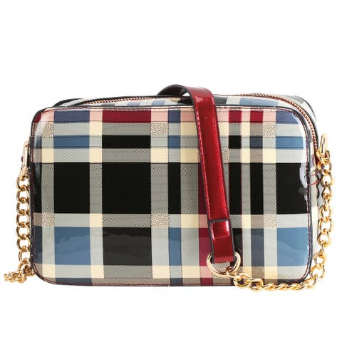 Plaid Design Patent Leather Crossbody Messenger Bag with Golden Chain