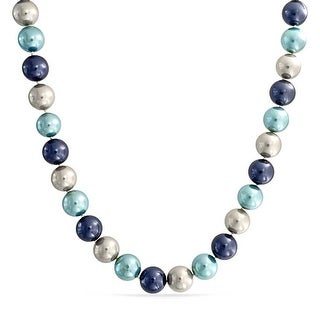 Bling Jewelry Round 14mm Blue Shell Pearl Statement Necklace