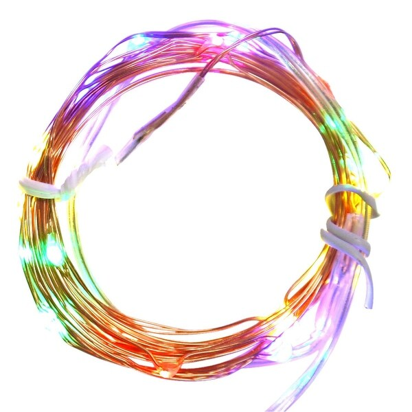 Set of 20 Battery Operated LED Multi-Color Christmas Fairy Lights - Copper Wire - multi