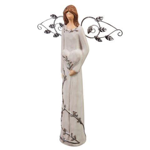 "12"" Nature's Promise, Angel Ceramic Statuary, Heart in Hand"