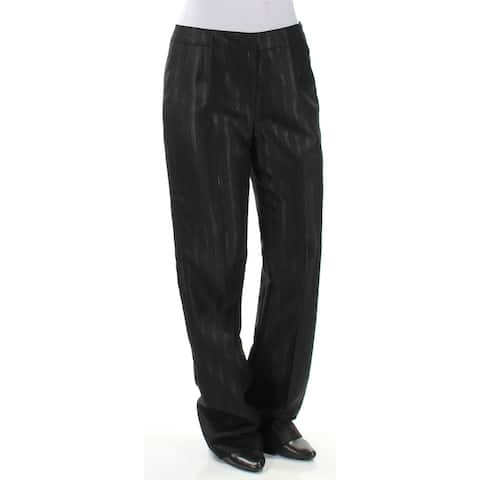 LE SUIT Womens Black Striped Straight leg Wear to Work Pants Size 4