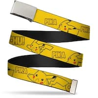 Blank Chrome  Buckle Pikachu Attack Poses Pika Chu! Yellow Webbing Web Belt - S