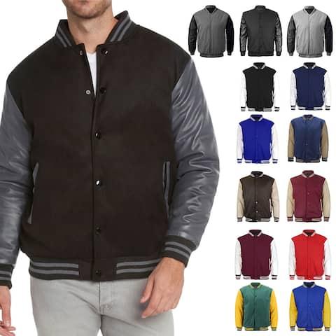 Maximos Men's LMJ Snap Button Front Classic Varsity Jacket