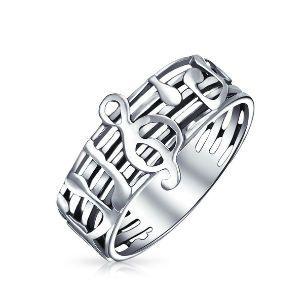 Shop Bling Jewelry Sterling Silver Music Notes G Treble Clef Ring