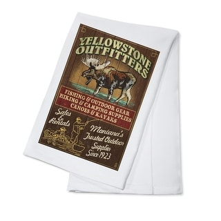 Yellowstone National Park, Montana - Moose Outfitters Vintage Sign - Lantern Press Artwork (100% Cotton Towel Absorbent)