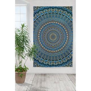 Handmade 100% Cotton 3D Harmony Origin of Life Mandala Tapestry Tablecloth Beach Sheet Beach Throw Bed Sheet Dorm Decor 60x90