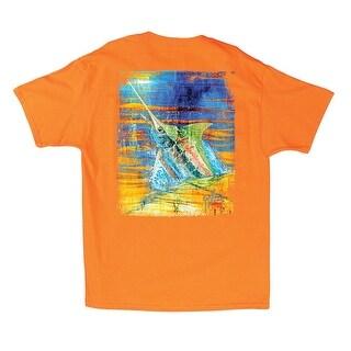 Guy Harvey Mens Blue Panama Short Sleeve Shirt