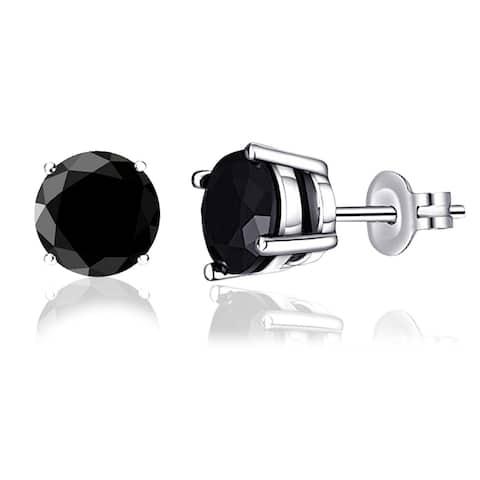 Sterling Silver Black Diamond Stud Earrings by Diacrown