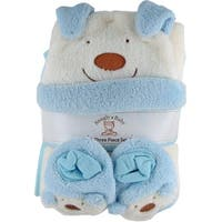Snugly Baby 3 Pc Set Blue Fleece Baby Blanket w/ Booties & Hat