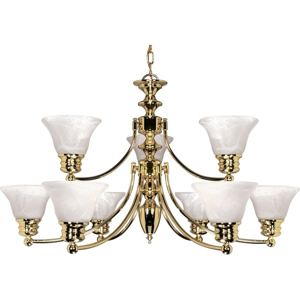 """Nuvo Lighting 60/361 Empire 9 Light 32"""" Wide Chandelier - Polished brass"""
