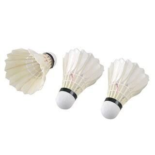 Unique Bargains Unique Bargains 3 Pcs Beige White Faux Feather Badminton Shuttlecocks