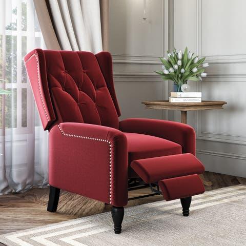 Gracewood Hollow Bea Velvet Wingback Push Back Recliner Chair