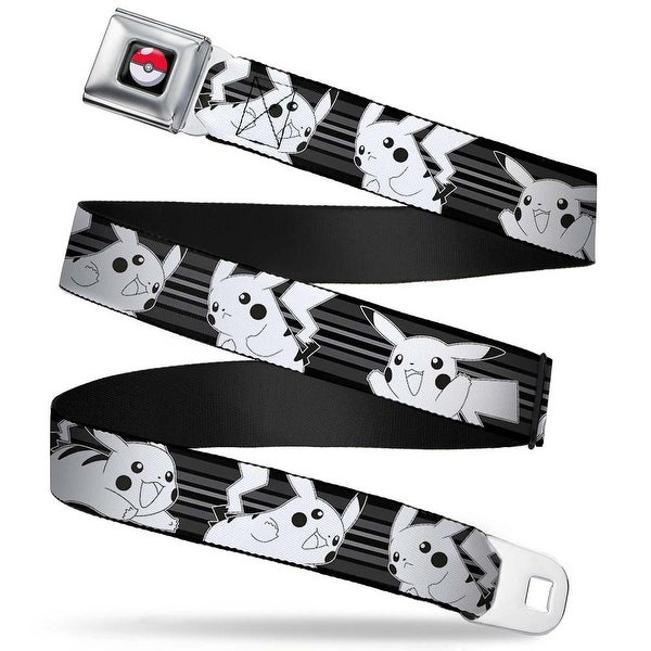Pok Ball Full Color Black Pikachu 4 Poses Stripes Black Grays White Seatbelt Belt