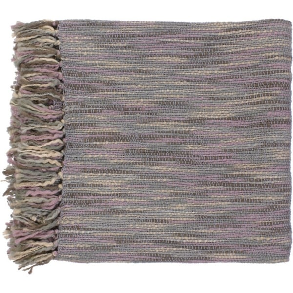 "Misty Treasure Gray and Mauve Throw Blanket 55"" x 78"""