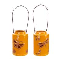 """Pack of 4 Orange Dragonfly and Butterfly Lantern Table Top Decor 6.5"""""""