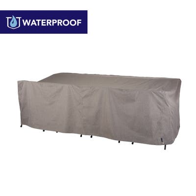 """Modern Leisure Garrison Waterproof Patio Table & Chairs Cover, Rect 64"""" W x 108"""" D x 34"""", Heather Gray, Model 3005"""