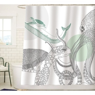 Ocean Animals White Fabric Shower Curtain - Green Gray Black
