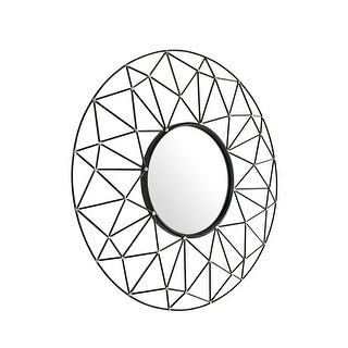 "Delacora WE-BD36GEO  Glyph 35"" Diameter Circular Beveled Metal Framed Wall Mounted Accent Mirror - Gold"