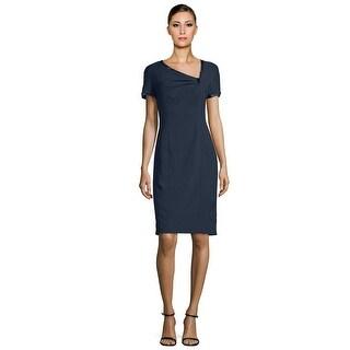 Rene Ruiz Asymmetric Short Sleeve Cocktail Day Dress Navy