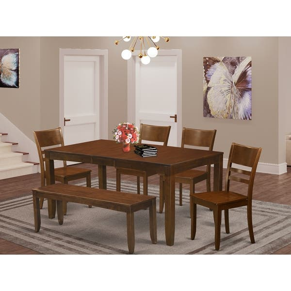 Espresso Wood Dining Table With Leaf And 4 Chairs Plus 1 Dining Bench Finish Option On Sale Overstock 11996960