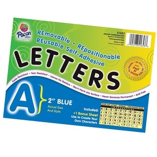 Pacon Self-Adhesive Reusable Letter, 2 in, Blue, Set of 159