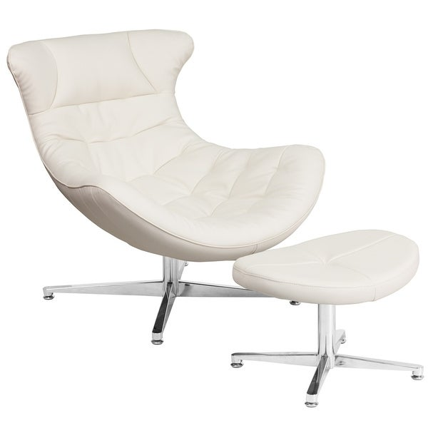 Azure Creek White Leather Modern Reception/Guest Cocoon Chair with Ottoman-FL5202