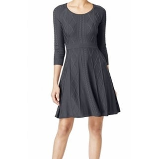 Calvin Klein NEW Gray Women's Size Medium M Fit & Flare Sweater Dress