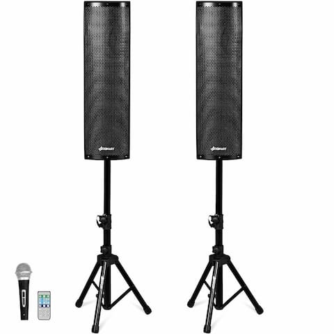 Sonart 2000W Set of 2 Bi-Amplified Bluetooth Speakers PA System with