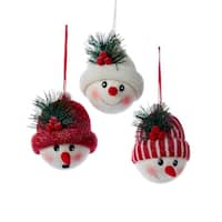 """Pack of 12 Fabric Snowman Heads with Red and White Christmas Hat Ornaments 5"""""""