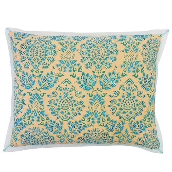 Vivai Home Turquoise Paisley Beaded Stamp Rectangle 12x 16 Feather Pillow - Blue