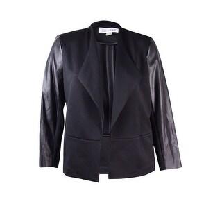 Calvin Klein Women's Plus Size Scuba Faux Leather Jacket - Black