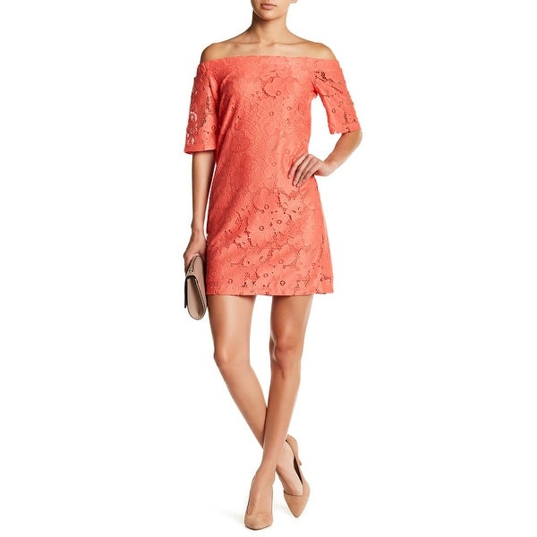 Donna Morgan Coral Orange Womens 6 Lace Off-Shoulder Shift Dress