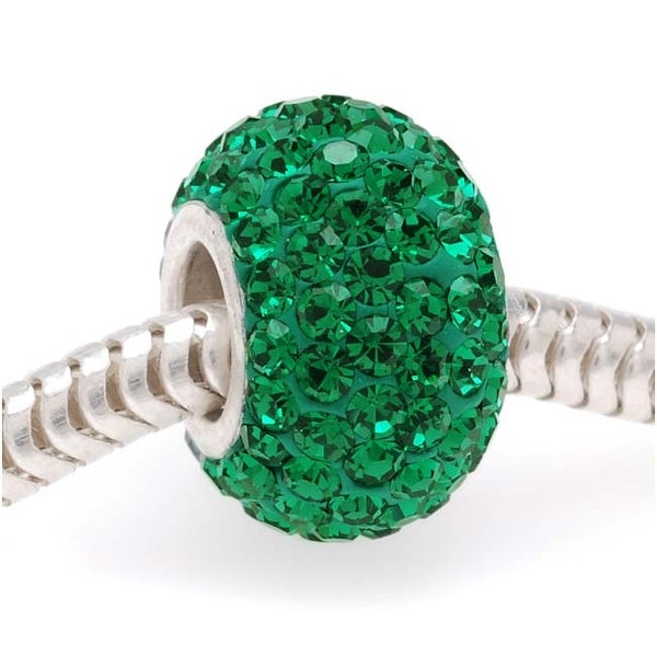 Sterling Silver Sparkle Bead May Birthstone Emerald Crystal In Ferido European Style Large Hole