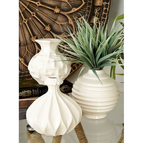 Strick & Bolton Tatum 3-piece Small White Ceramic Vase Pack