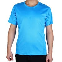 Men Polyester Short Sleeve Clothes Casual Wear Tee Biking Sports T-shirt Blue L