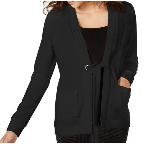 XOXO Womens Sweater Black Size XL Cardigan Grommet Front Tie Knit