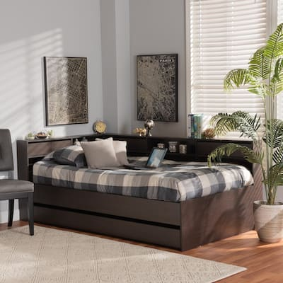 Parson Classic Mid-Century Modern Walnut Brown Wood Daybed-Twin