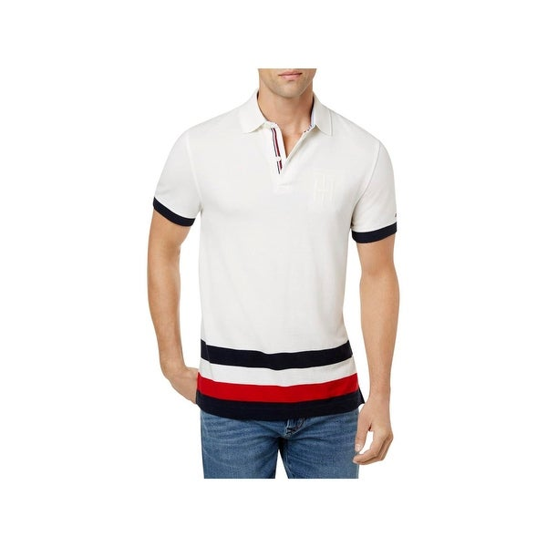 80871c1b Shop Tommy Hilfiger Mens Byron Polo Shirt Striped Custom Fit - L - Free  Shipping On Orders Over $45 - Overstock - 22632932