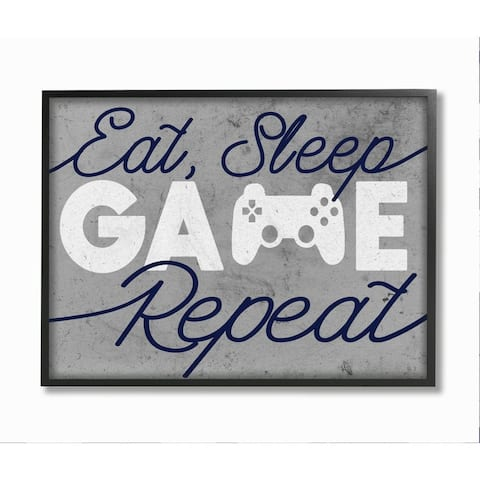 Stupell Industries Video Game Controller Eat Sleep Game Repeat Quote Framed Wall Art - Grey
