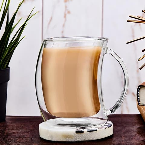 JoyJolt Caleo Glass Coffee/ Latte Cups, Double Wall Insulated Glasses, Set of 2 13.5 oz