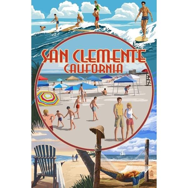 San Clemente, California - Beach Montage - Lantern Press Artwork (Art Print  - Multiple Sizes Available) - 9 x 12 Art Print