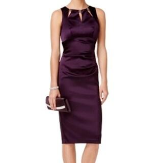 Betsy & Adam NEW Purple Women's Size 8 Sheath Cutout Pleated Dress