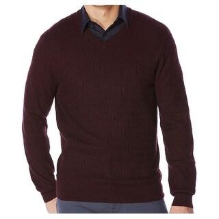 Perry Ellis NEW Port Purple Mens Size Large L V-Neck Textured Sweater