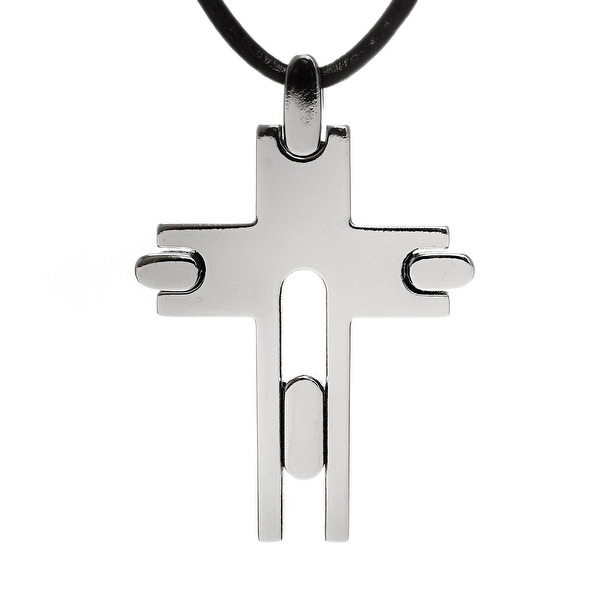 "Chisel Men's Modern 33mm Titanium Cross on 18"" Leather Cord Necklace (2 mm) - 18 in"