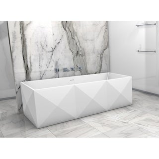 "Clarke CA6935FS  Diamond 70"" Solid Surface Soaking Bathtub for Freestanding Installations with Center Drain - Matte"
