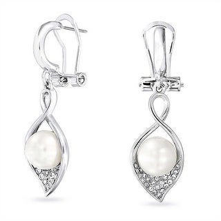 Bling Jewelry Lily Imitation Pearl Omega Back Earrings Rhodium Plated Alloy