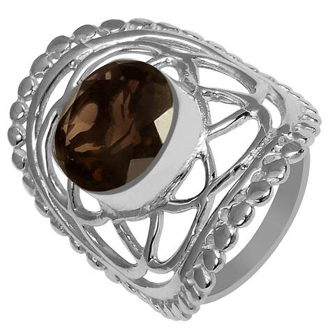 Smoky Quartz Brass Round Fashion Ring By Fashionablez
