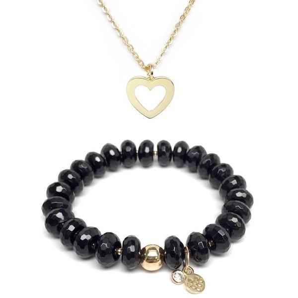 "Black Onyx 7"" Bracelet & Heart Gold Charm Necklace Set"